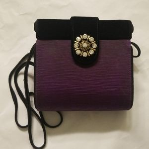 AUTH HENRI BENDEL PURPLE JEWELED SHOULDER BAG